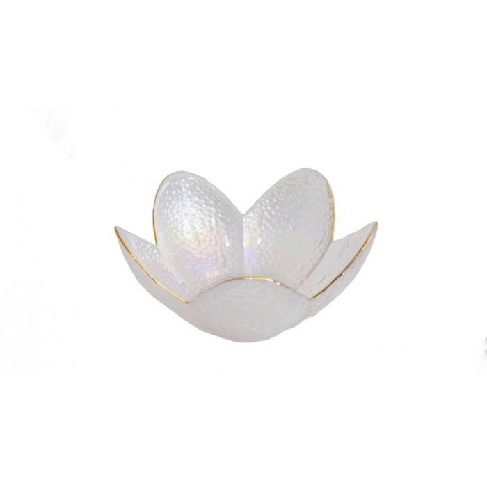 Mini Bowl Formato Flor Decorativo Furta Cor com Borda Dourada 9x9x4,5cm