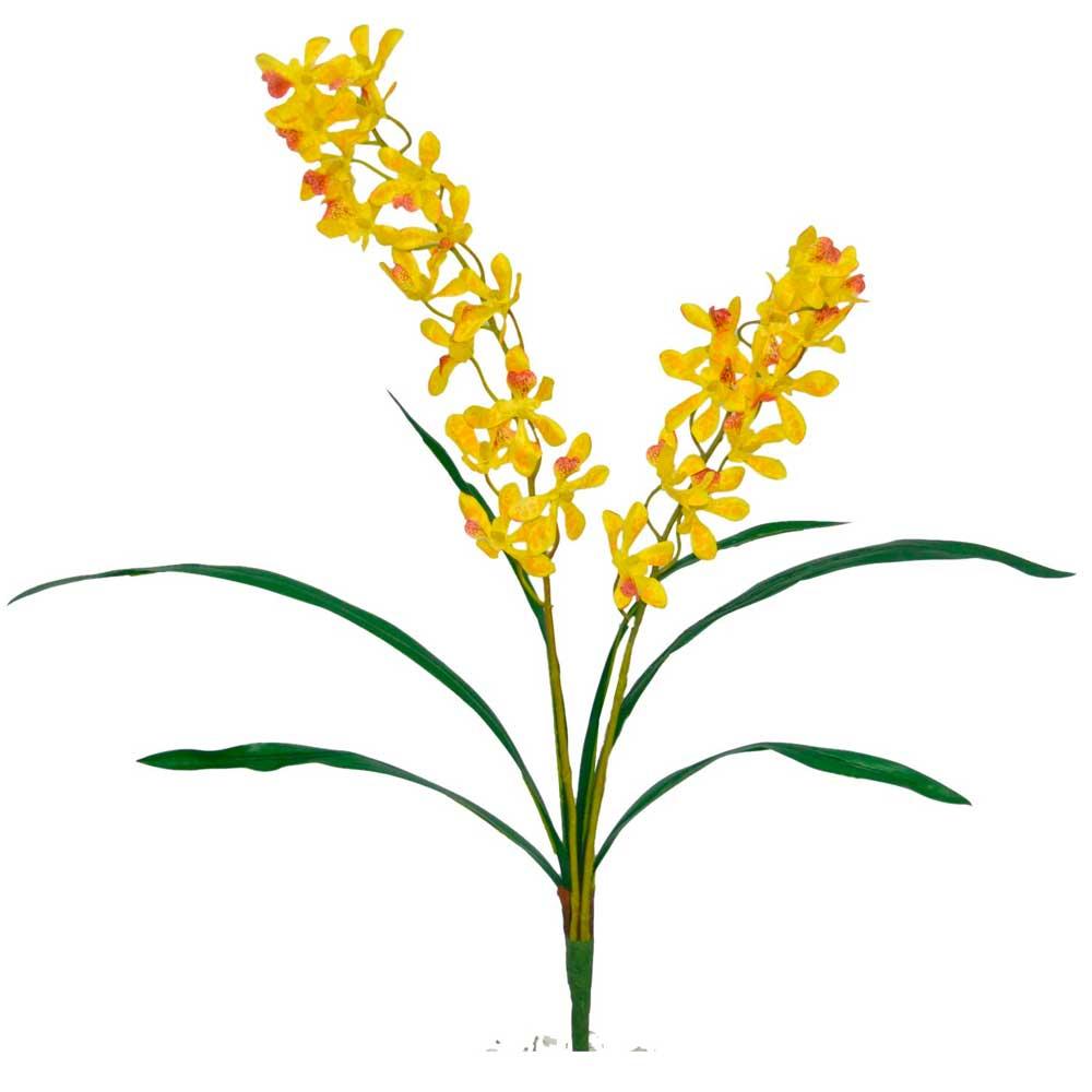 Orquídea Artificial Amarela com Folhas X2 Hastes 64cm