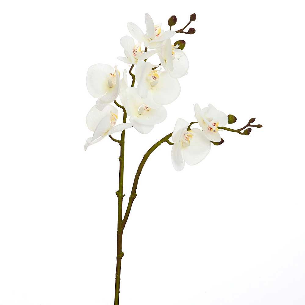Orquídea Artificial Branca 2 Galhos X9 Toque Real 68cm