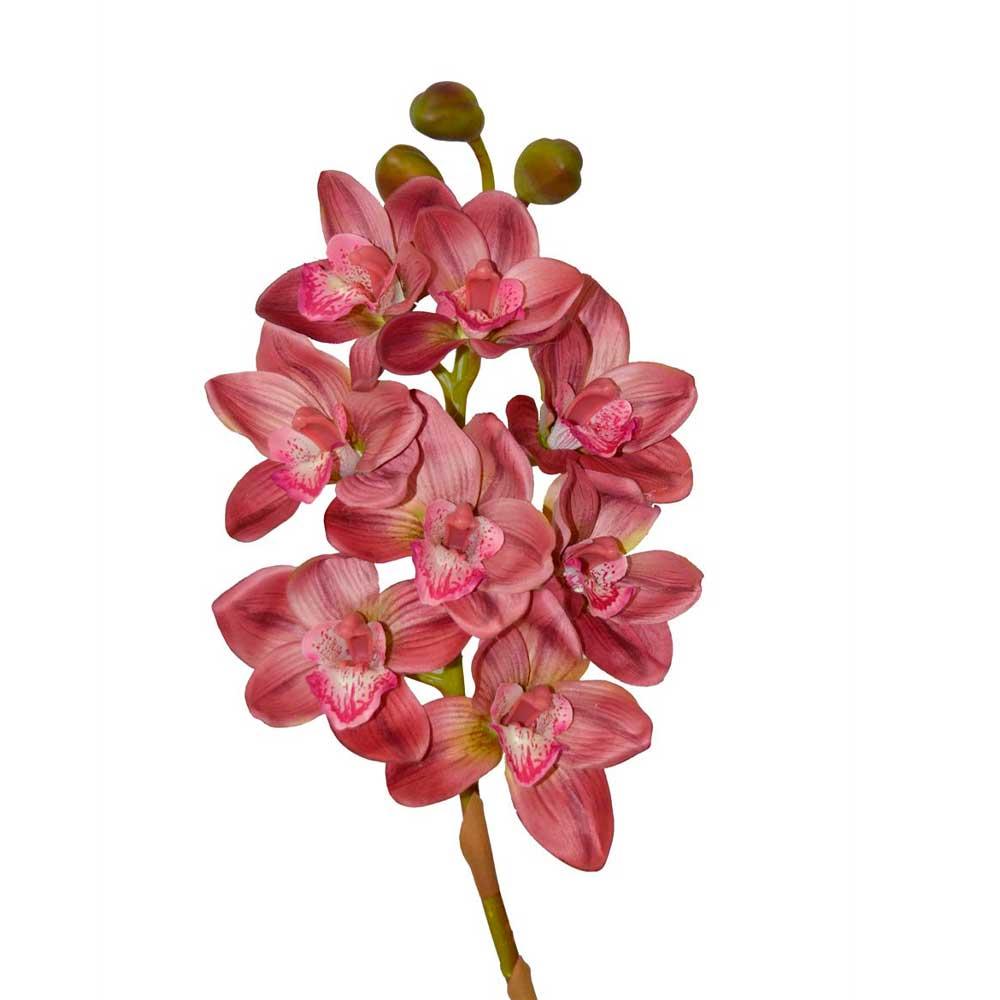 Orquídea Artificial Cimbidium X8 Roxo Toque Real 74cm