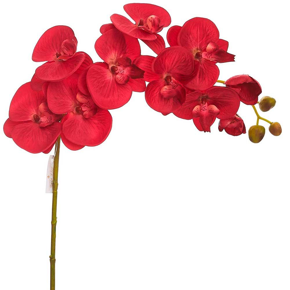 Orquídea Artificial Toque Real X10 Vermelha 98cm