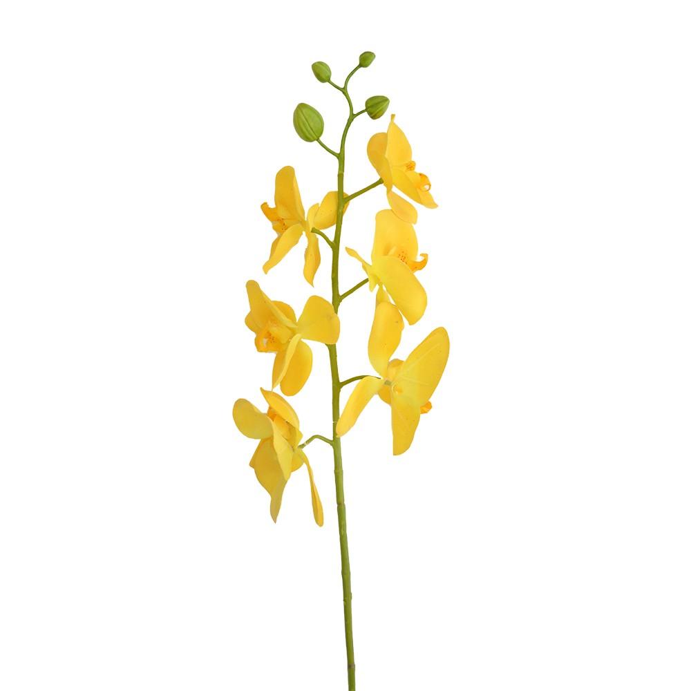 Orquídea Artificial Toque Real x6 Amarelo 70cm