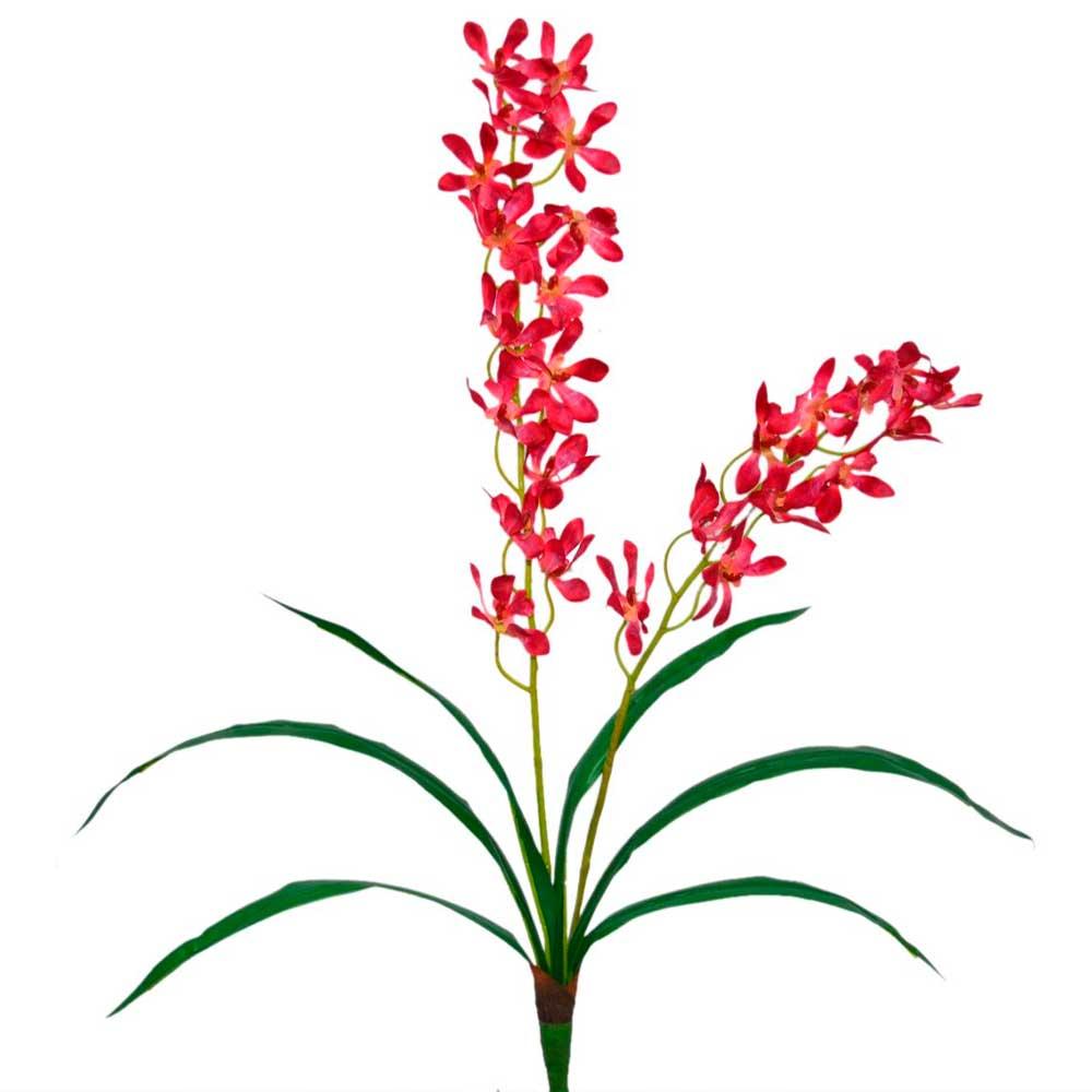 Orquídea Artificial Vermelha X2 Hastes com Folhas 64cm
