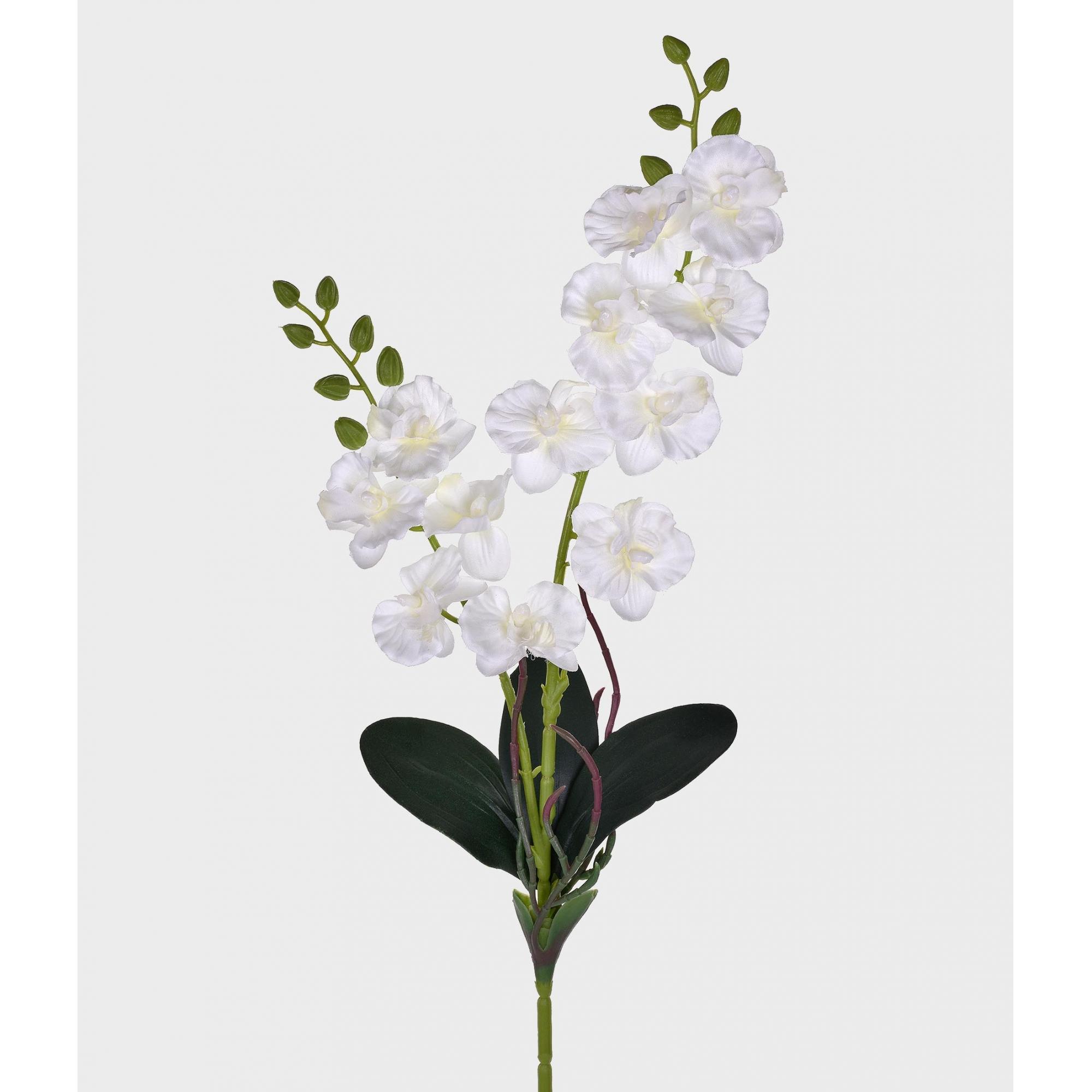 Orquídea Artificial X2 Cetim Branca 50cm
