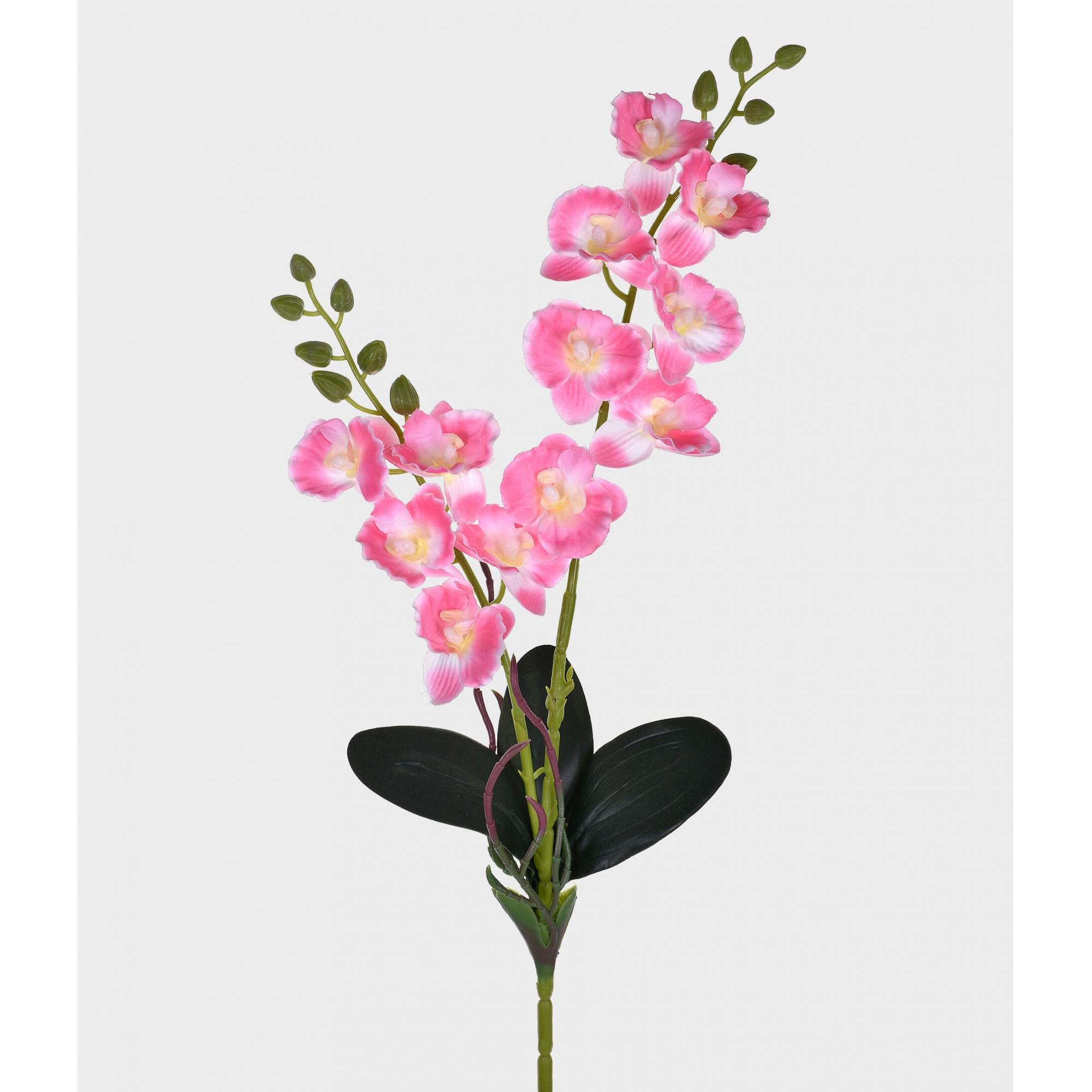 Orquídea Artificial X2 Cetim Rosa 50cm