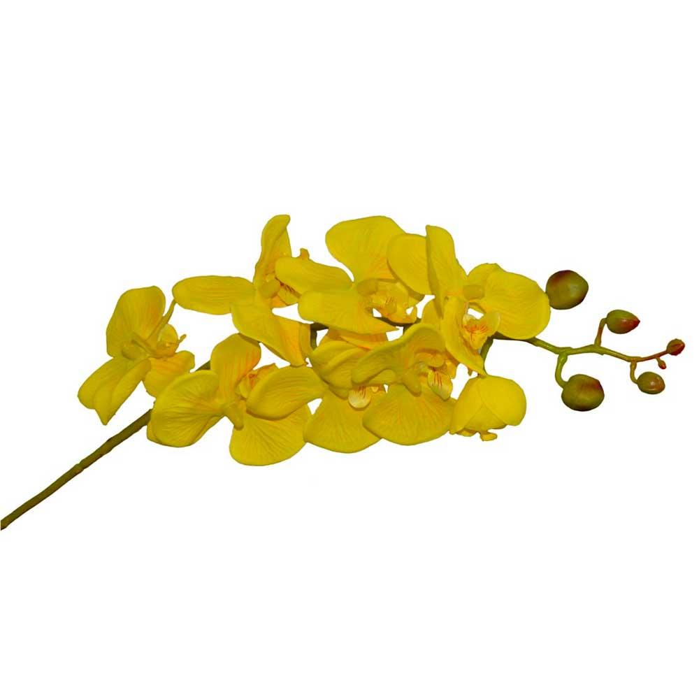Orquídea Artificial X8 Amarela 77cm