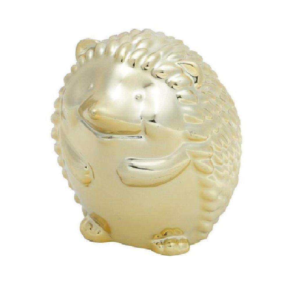 Ouriço Decorativo de Cerâmica Dourado