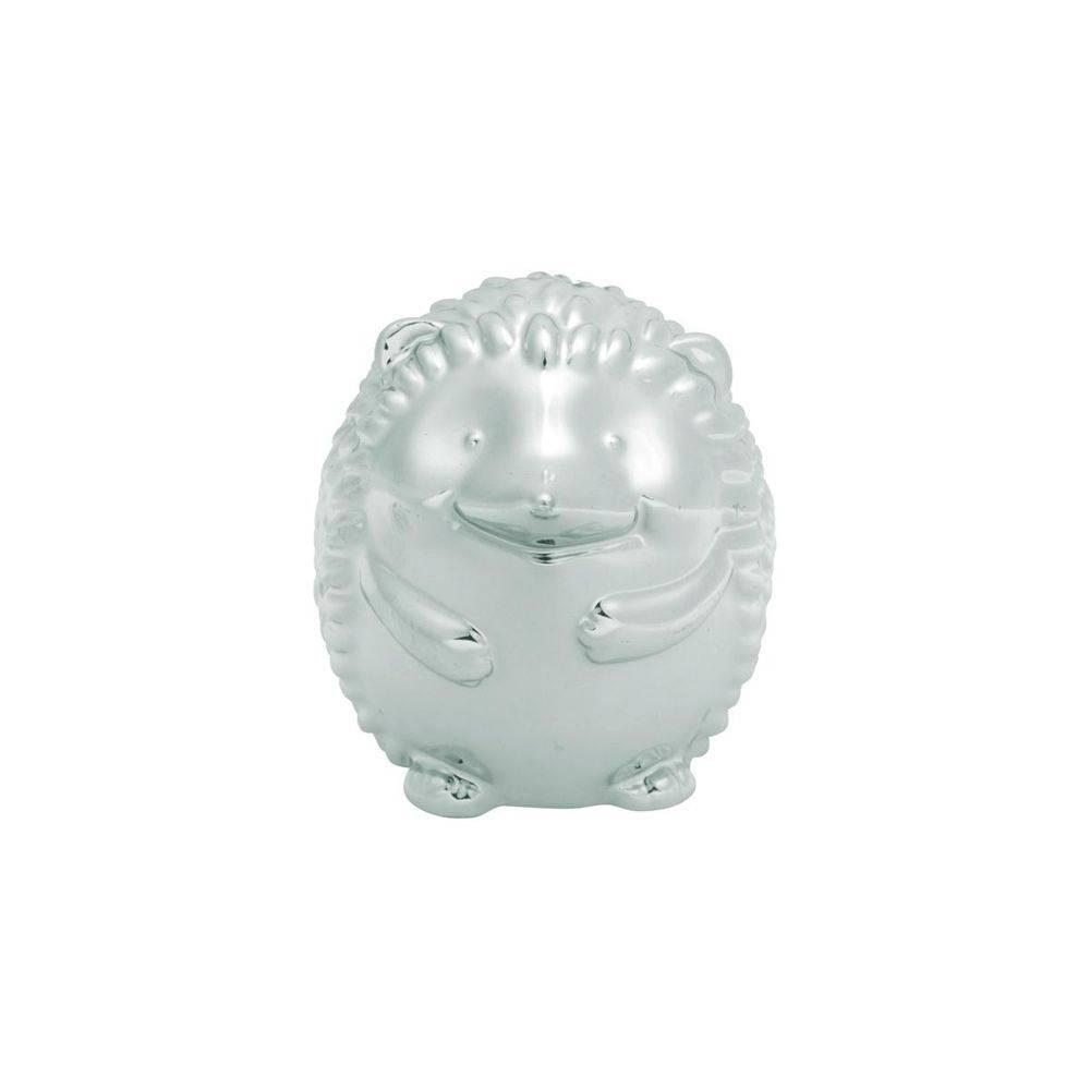 Ouriço Decorativo de Cerâmica Prata