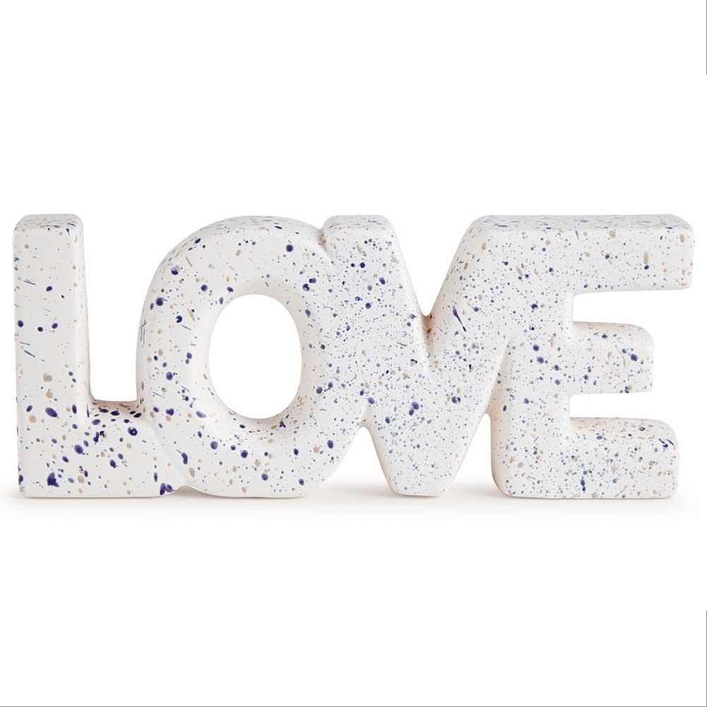 Palavra Love Decorativa de Cerâmica Branco