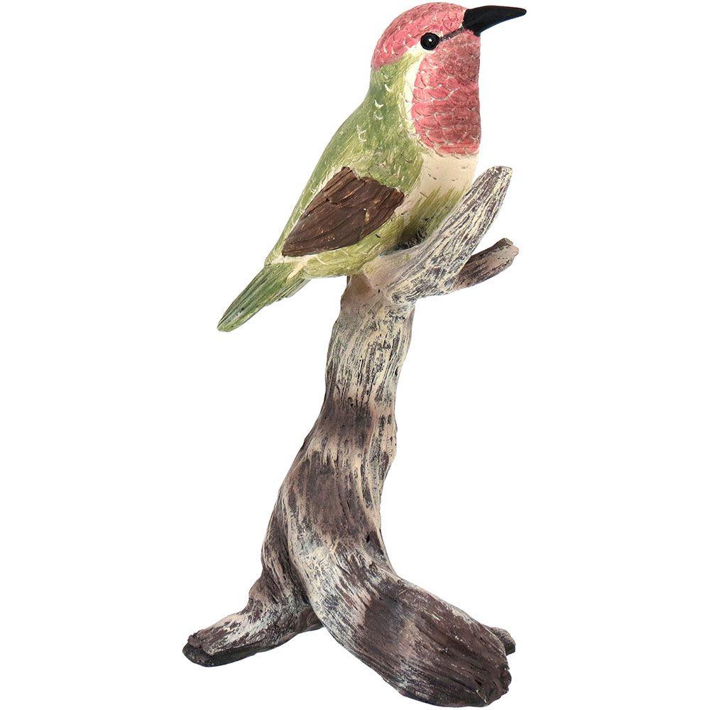 Pássaro Decorativo de Resina Verde e Marrom 19cm Plume
