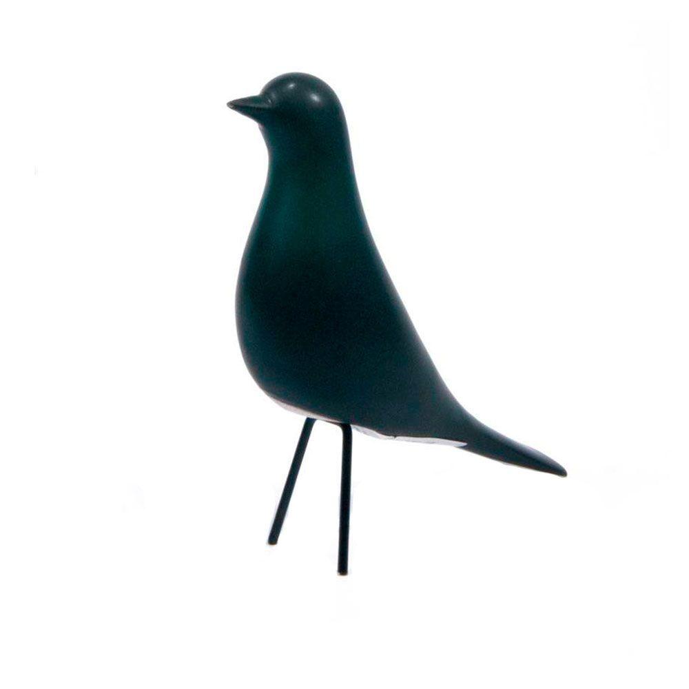 Pássaro Decorativo em Cerâmica Preto Médio