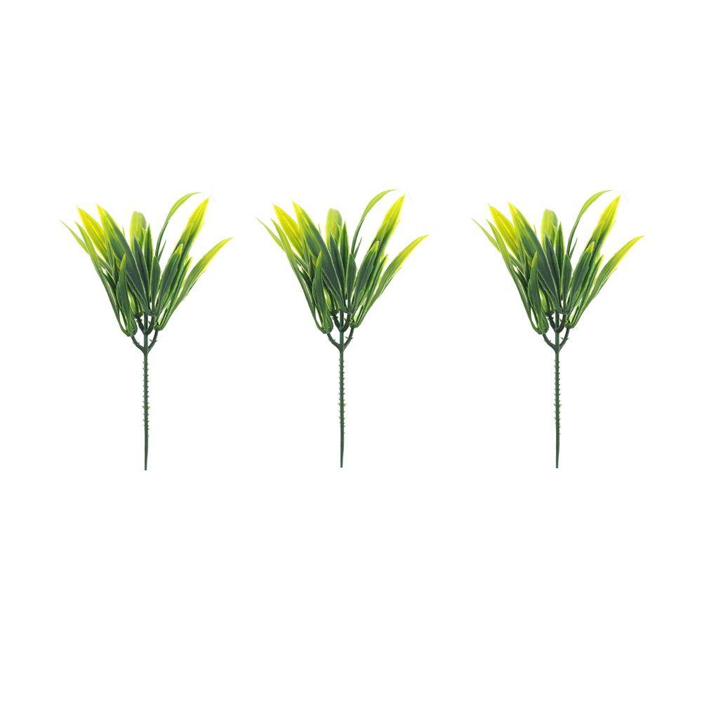 Pick Artificial Folhas com 3 Hastes 22cm Verde