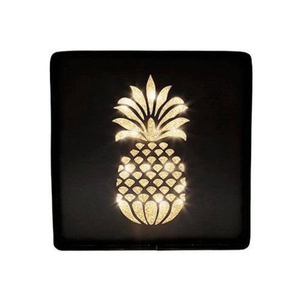 Placa Decorativa Metal com LED Abacaxi