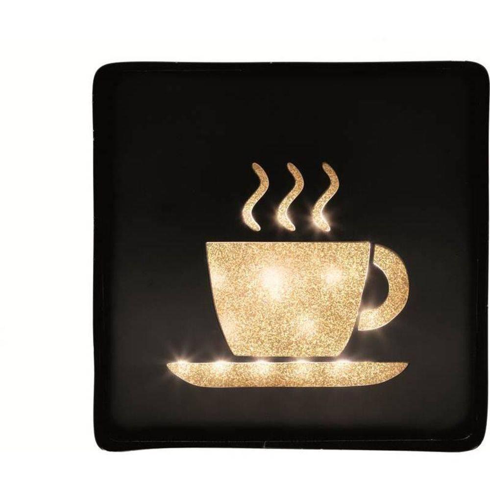 Placa Decorativa Metal com LED Café