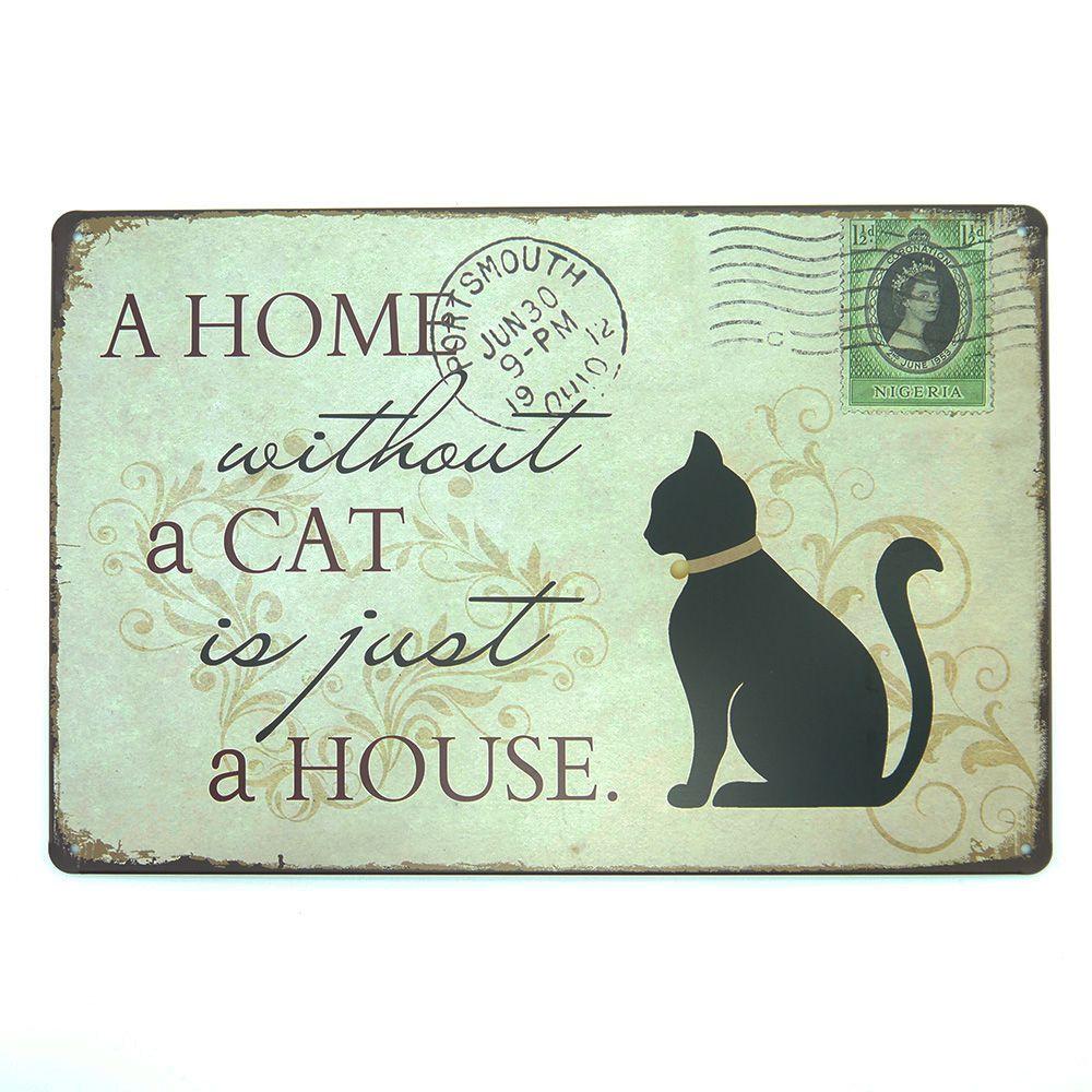 Placa em Metal Decorativa Home And Cat