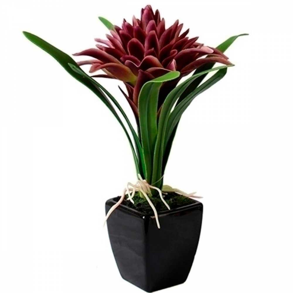Planta Artificial Bromélia Roxa com Vaso de Cerâmica 28cm
