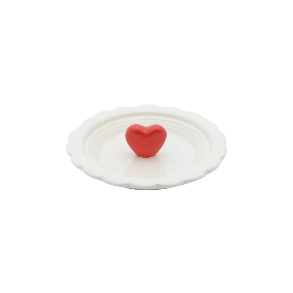 Porta Anéis em Cerâmica Branco com Coração Vermelho