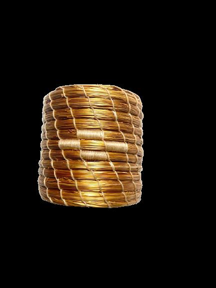 Porta Guardanapo em Capim Dourado Bordado Creme