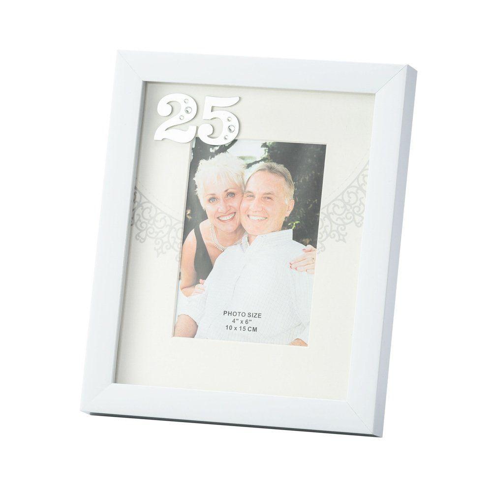 Porta Retrato Branco Bodas de Prata 10x15cm