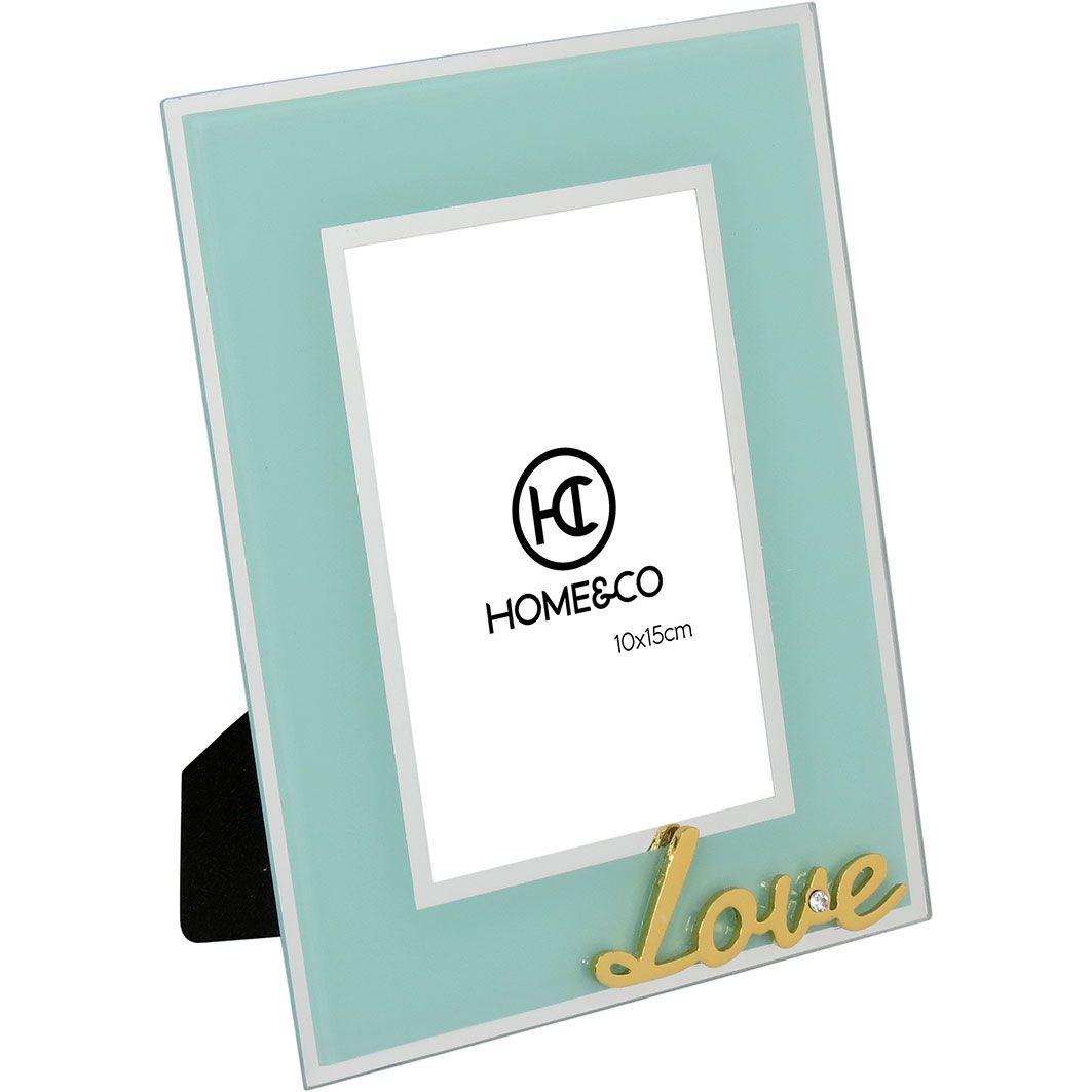 Porta Retrato em Vidro Milos Espelhado Azul Love