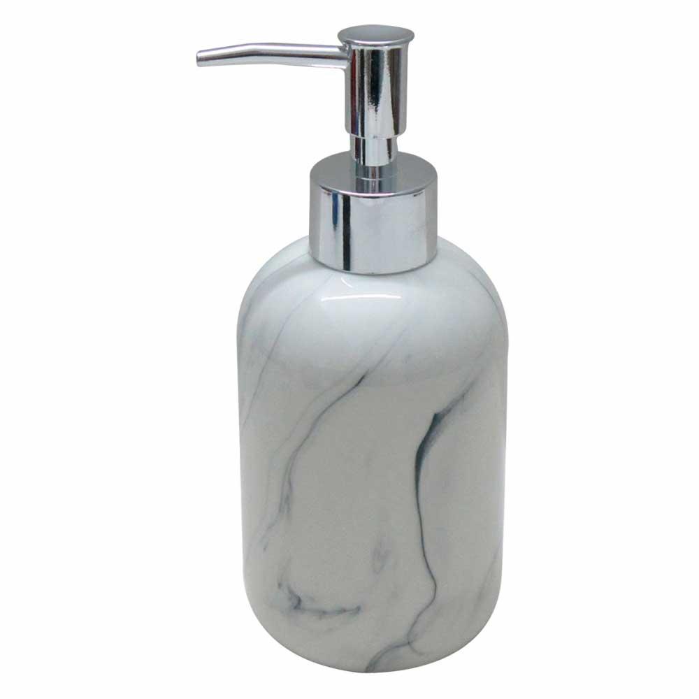Porta Sabonete Líquido de Cerâmica Marmorizado 7 x 7 x 18cm