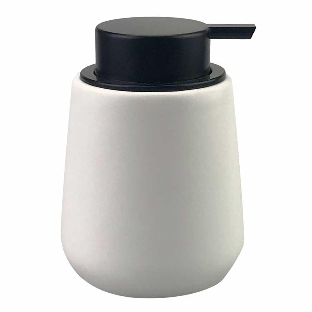 Porta Sabonete Líquido de Porcelana Branco e Preto 10x13cm