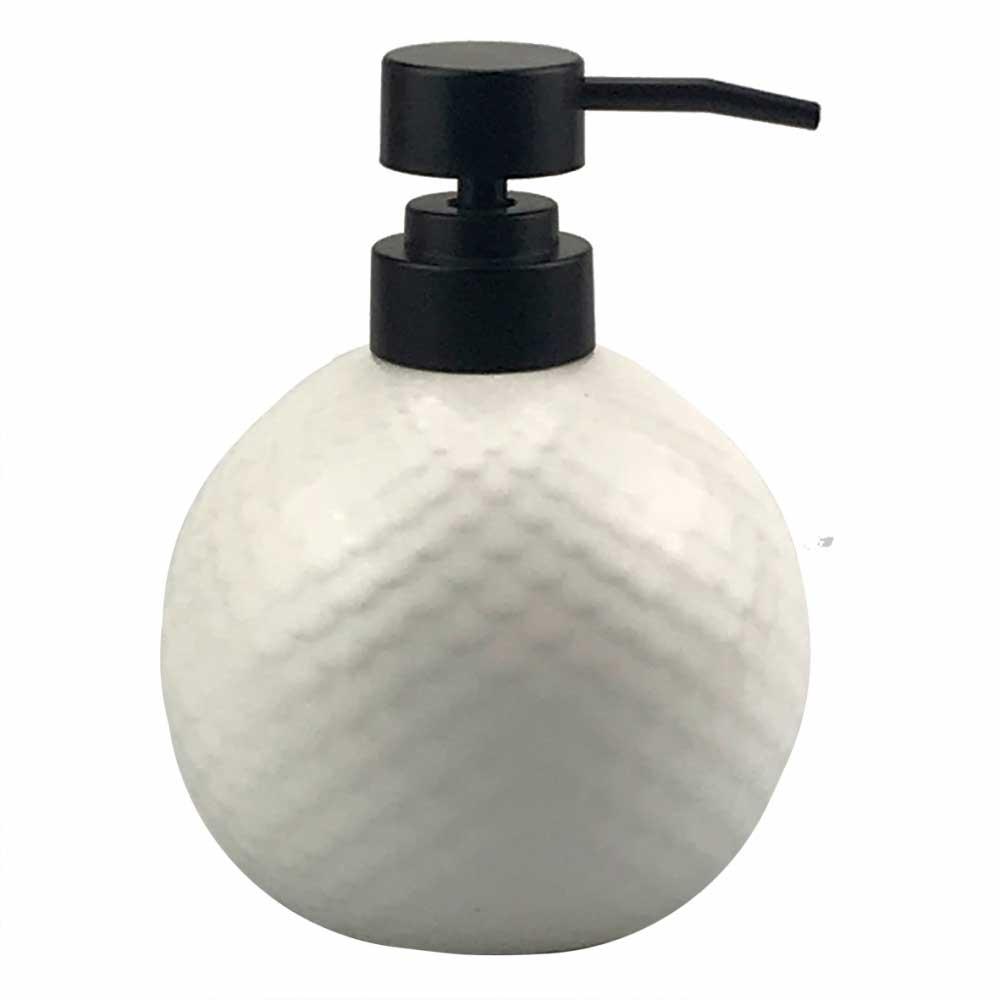 Porta Sabonete Líquido de Porcelana Branco e Preto 13x10cm