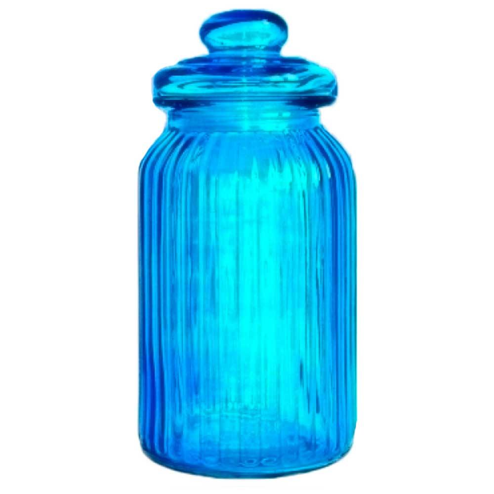 Pote de Vidro com Tampa Azul
