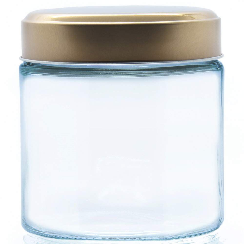 Pote de Vidro Redondo Borossilicato com Tampa Cobre Pequeno