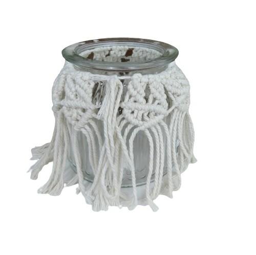 Pote Decorativo de Vidro com Franja de Macramê Bege 10,5cm