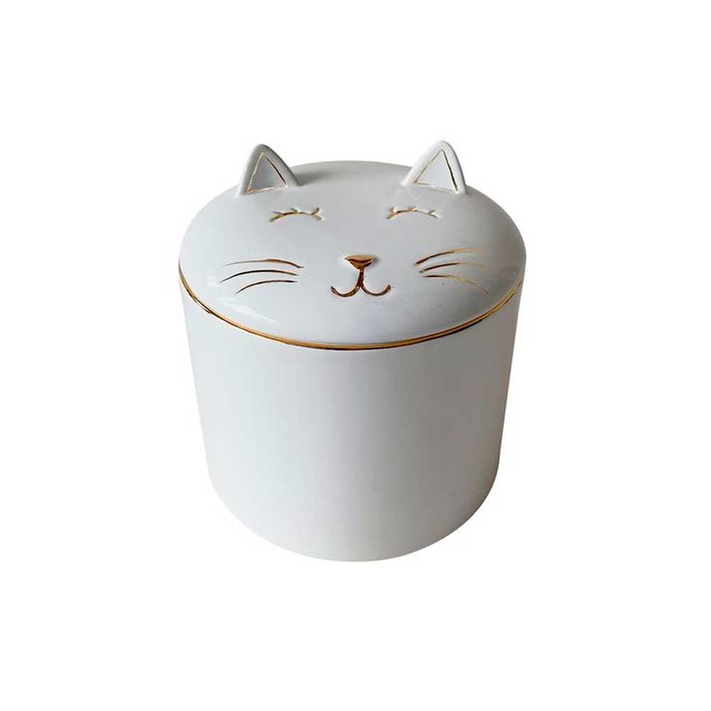 Pote Decorativo em Cerâmica Gato Branco com Dourado 10cm