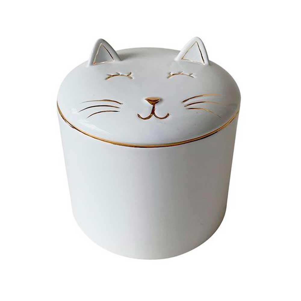 Pote Decorativo em Cerâmica Gato Branco com Dourado 12cm