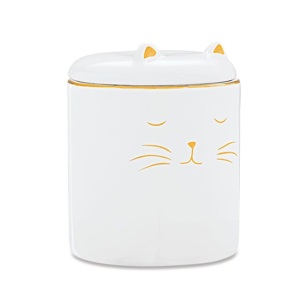 Pote Decorativo em Cerâmica Gato Branco com Dourado