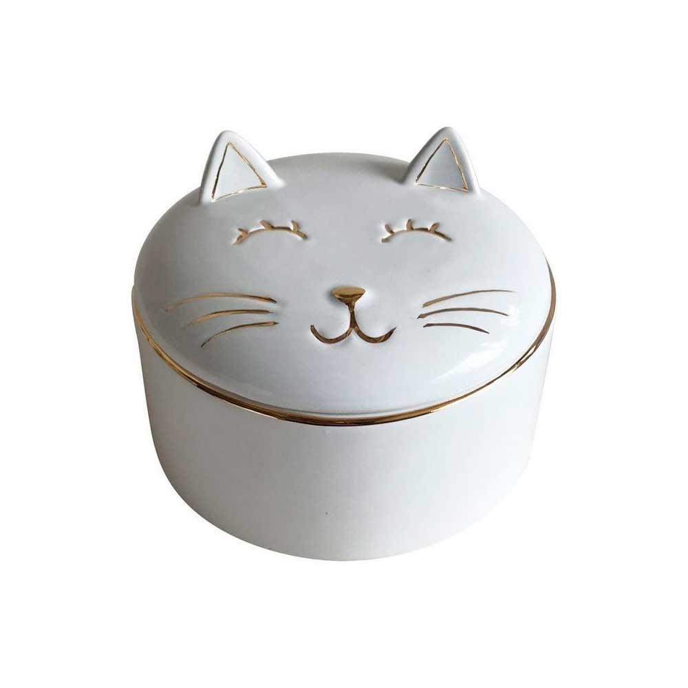 Pote Decorativo em Cerâmica Gato Branco com Dourado 7cm