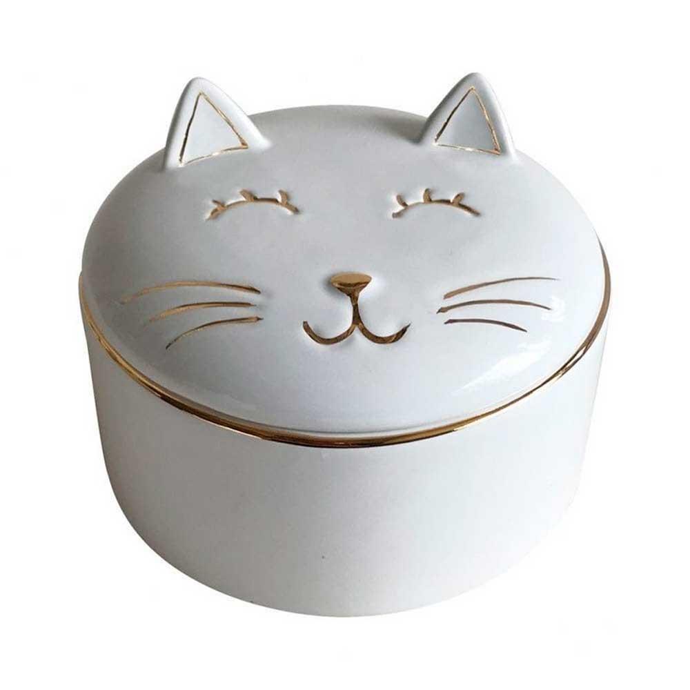 Pote Decorativo em Cerâmica Gato Branco com Dourado 9cm