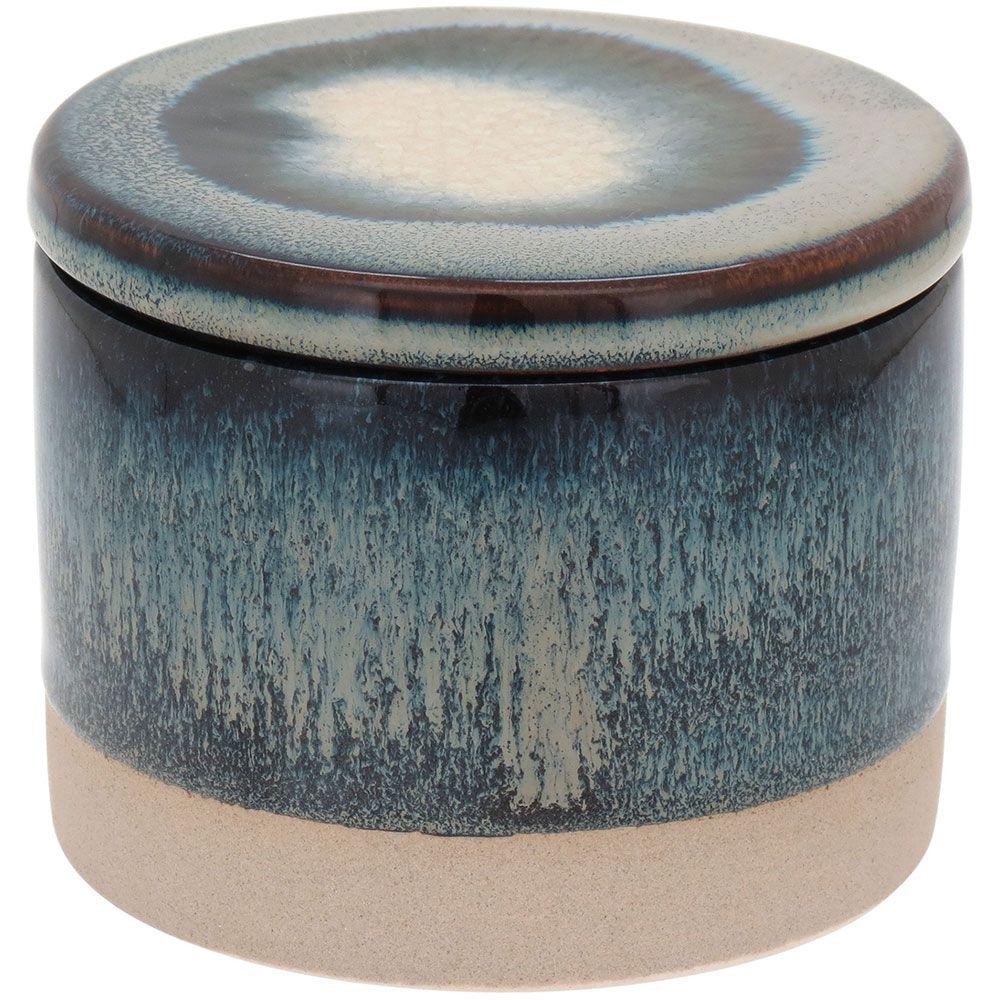 Potiche com Tampa em Cerâmica Cayo 8cm Petróleo