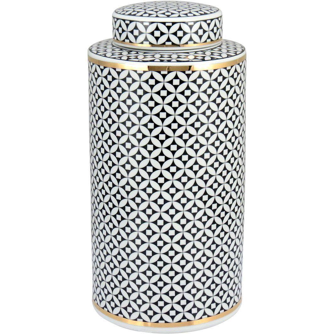 Potiche com Tampa Xian em Cerâmica 40cm Preto e Branco