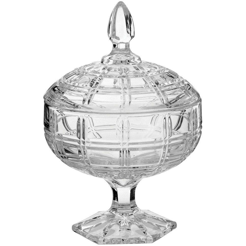 Potiche Decorativo com Tampa Vidro Transparente 24x16cm - Angelica
