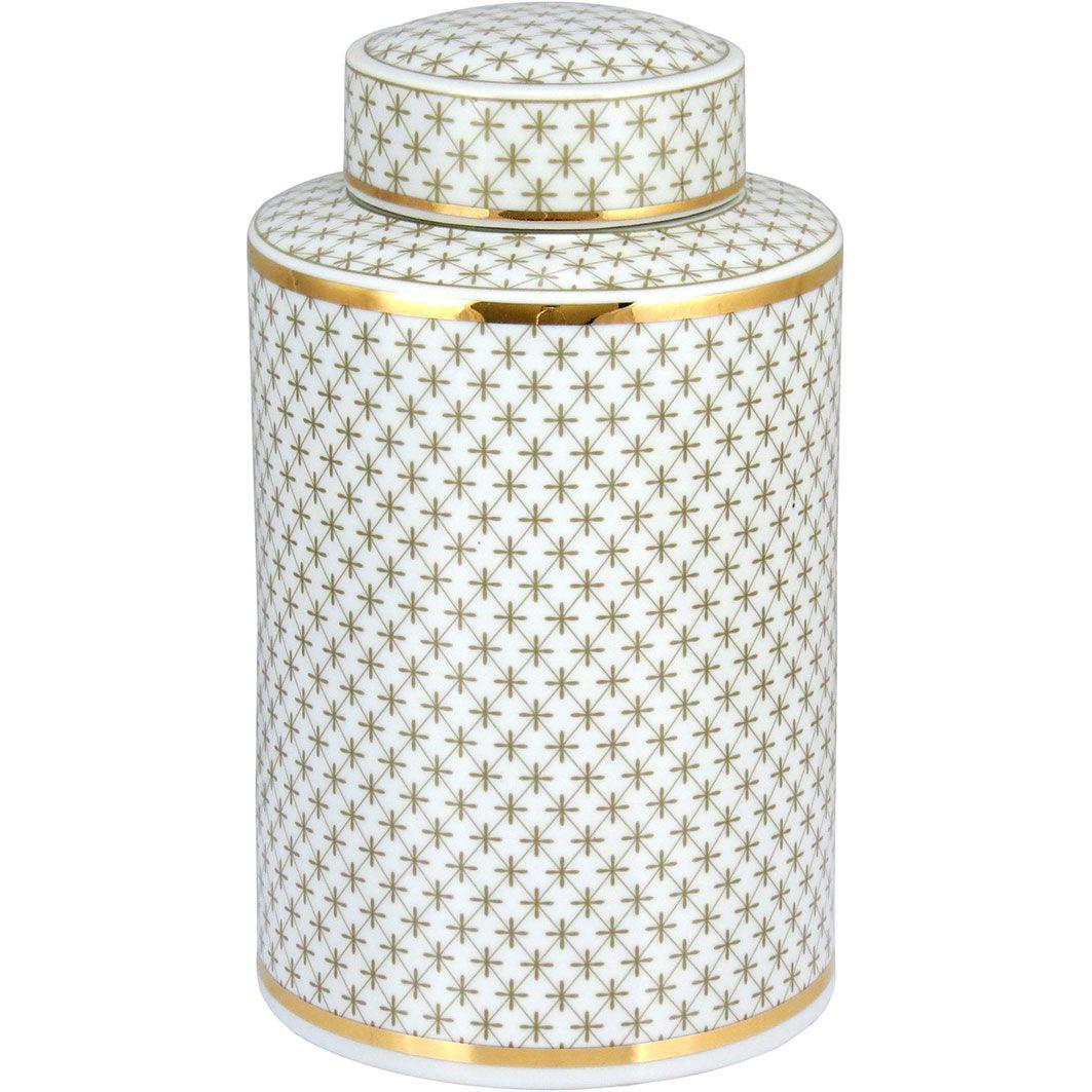 Potiche Redondo com Tampa Nagoya em Cerâmica 30cm Branco e Dourado