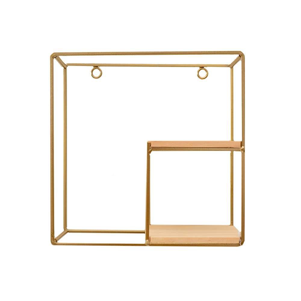 Prateleira Quadrada Decorativa de Madeira e Metal Dourada