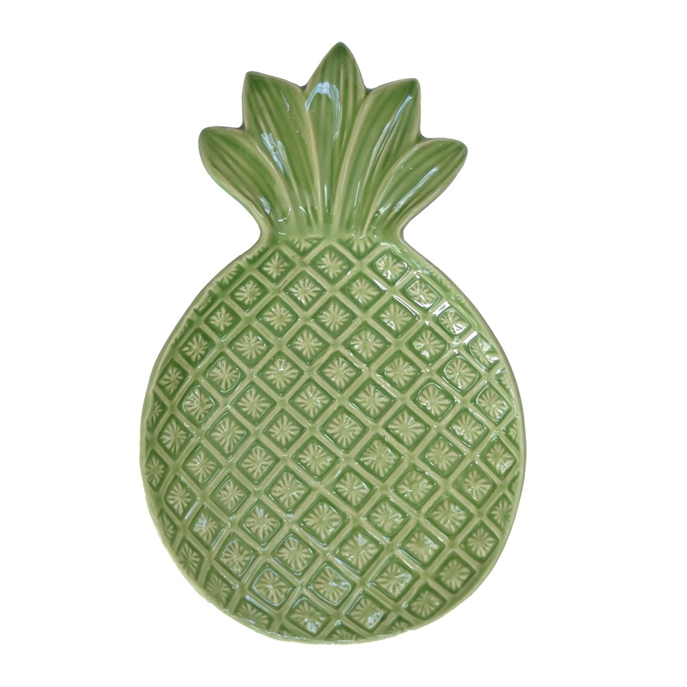 Prato de Cerâmica Abacaxi Verde 20cm
