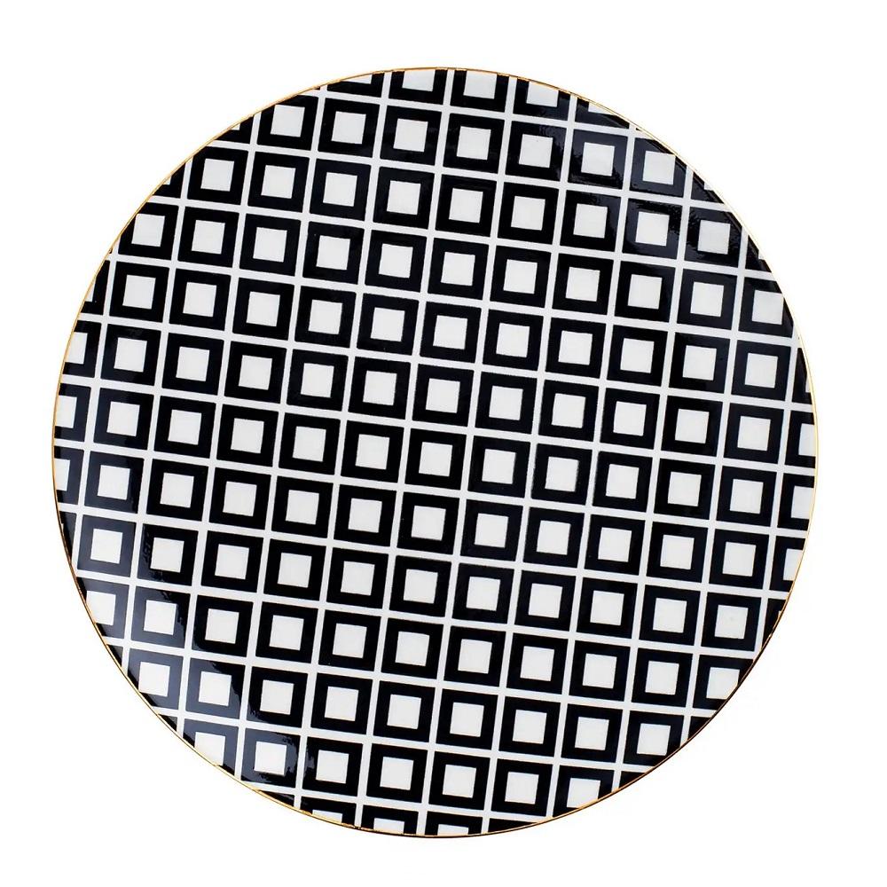 Prato Decorativo em Cerâmica Quadrados