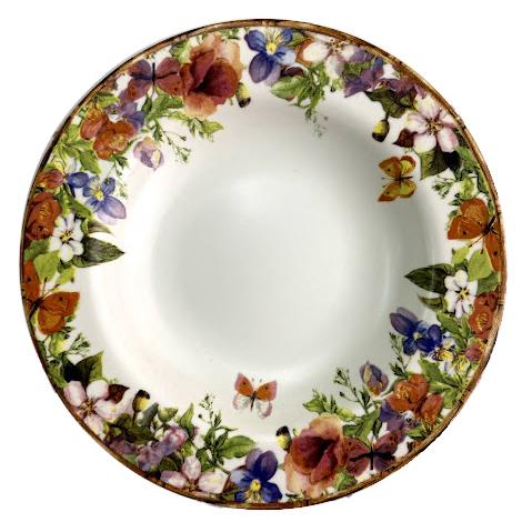 Prato Fundo de Cerâmica Flores Rattan 24,5cm Alleanza
