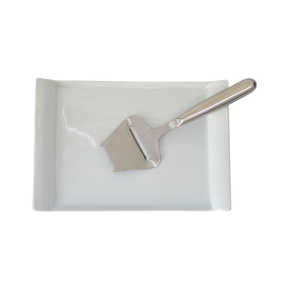 Prato para Queijo de Porcelana c/ Fatiador 26cm