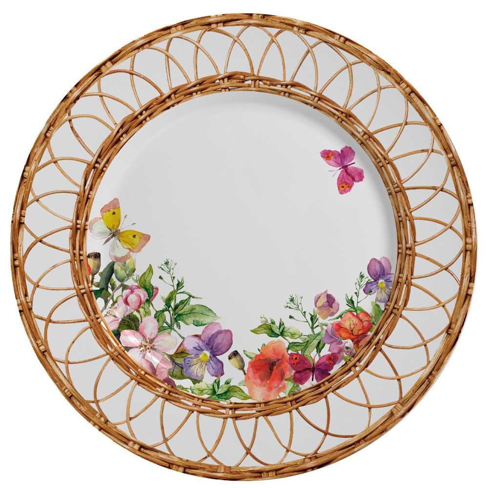 Prato Raso de Cerâmica Flores Rattan 28,5cm Alleanza