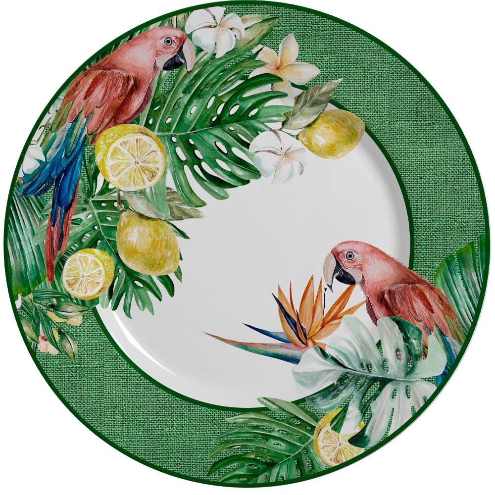 Prato Raso de Cerâmica Paraíso Tropical 28,5cm Alleanza