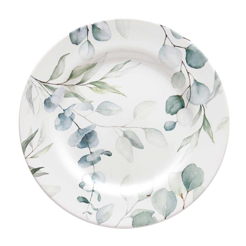 Prato Sobremesa de Cerâmica Aquarelle Eucalipto