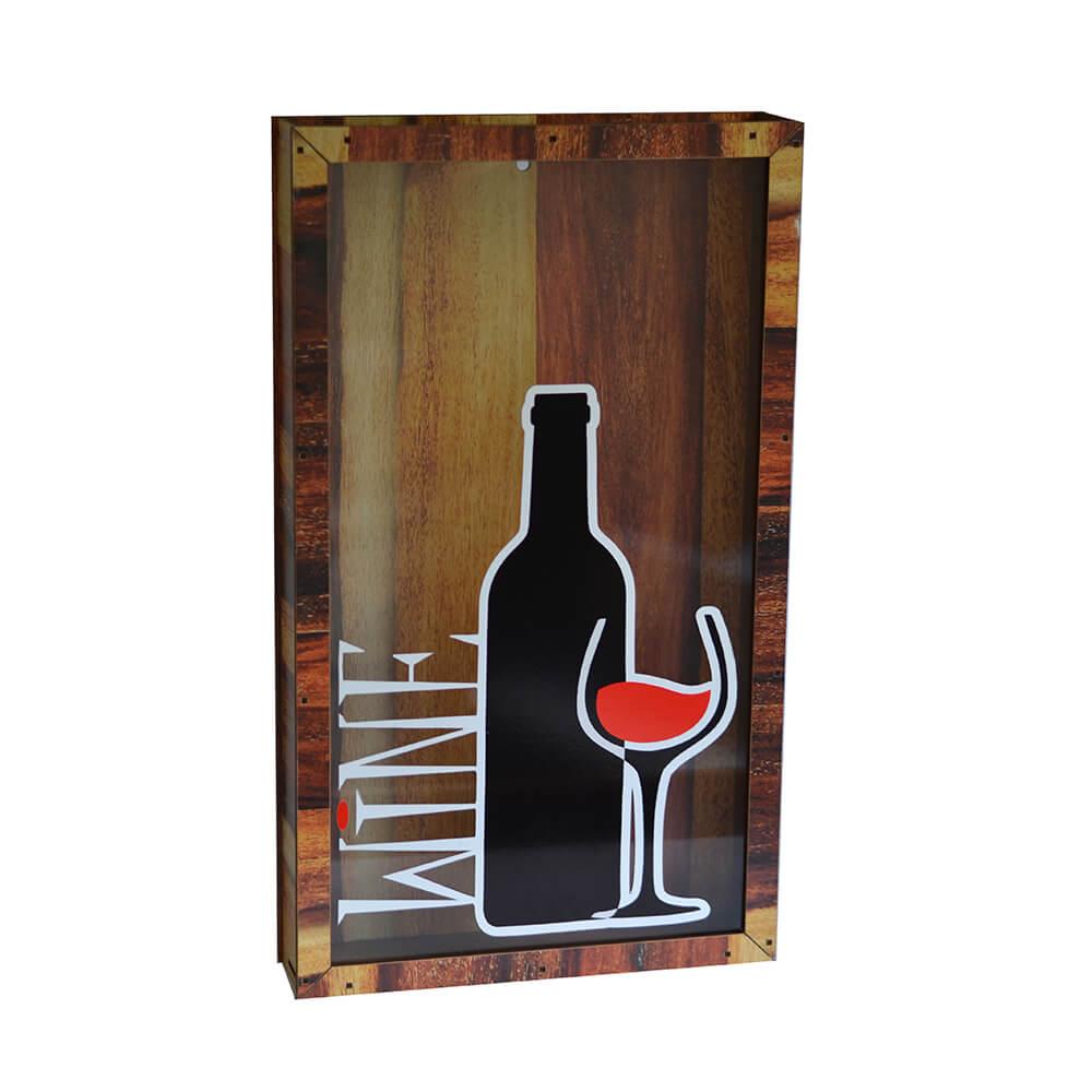 Quadro de Rolhas Wine Garrafa e Taça 45cm