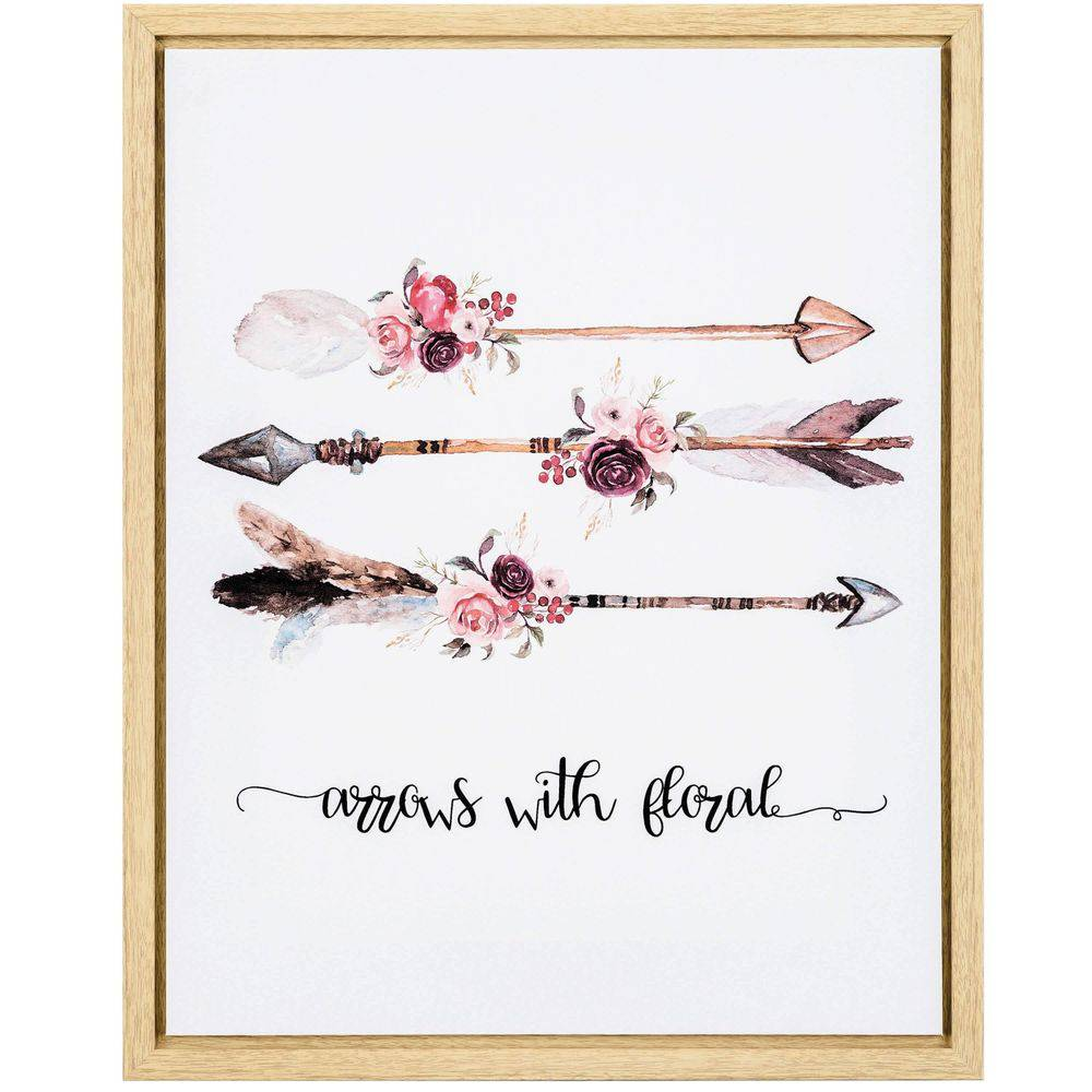 Quadro Decorativo em Canvas Arrows With Floral 50x40cm - Mart