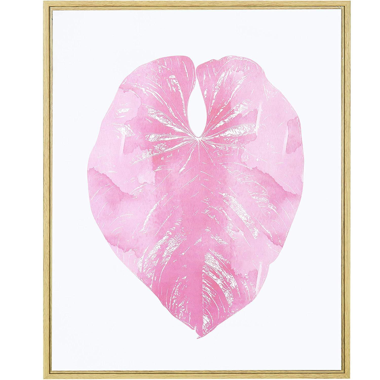 Quadro Decorativo em Canvas Folha 50x40cm Branco e Rosa